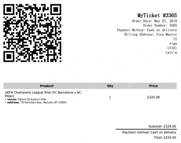 MyTicket Events Plugin PDF ticket printout example.